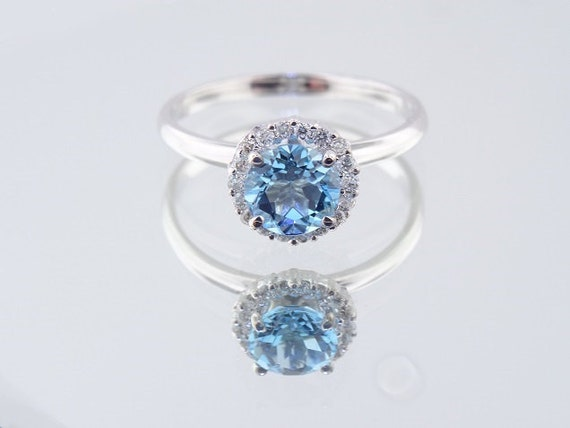 14K White Gold Diamond and Blue Topaz Halo Engagement Ring - SJ700HBT