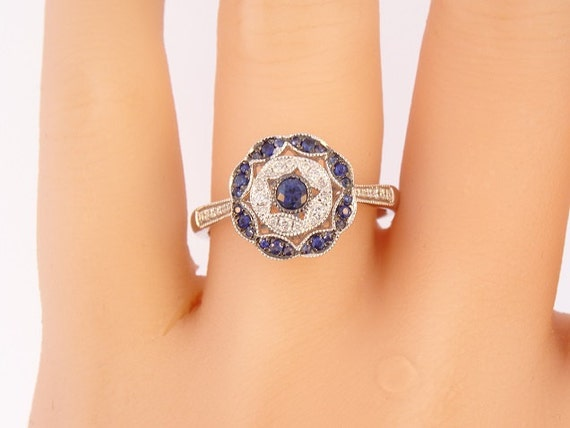 14K White Gold Diamond and Sapphire Ring Evil Eye Ring Stackable Band Anniversary Ring Fashion Ring Halo Ring