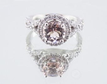 14K White Gold Diamond and Natural Morganite Halo Engagement Ring Infinity Ring Wedding Ring Promise Ring Criss Cross Ring Rose Yellow Gold