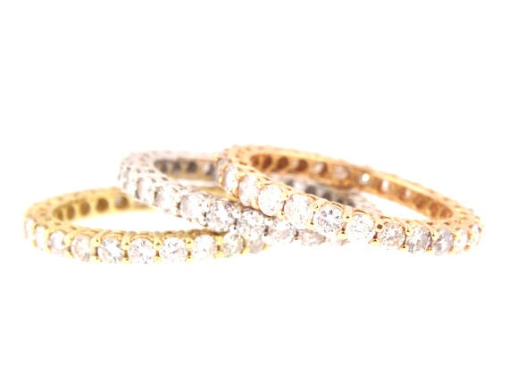 14K Tri-Color Prong Set Diamond Band Anniversary Band Wedding Band Stackable Band Promise Ring Yellow Gold White Gold Rose Gold Platinum 18K