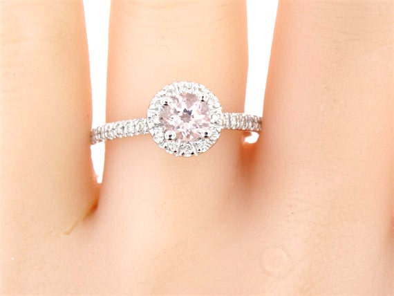 14K White Gold Natural Morganite and Diamond Halo Ring Antique Art Deco Solitare Engagement Ring Wedding Ring Promise White Gold Yellow Gold