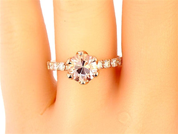 14K Rose Gold Diamond Round Morganite Engagement Ring Wedding Ring Art Deco Ring Classic Ring Promise Ring Solitaire Yellow Gold White Gold
