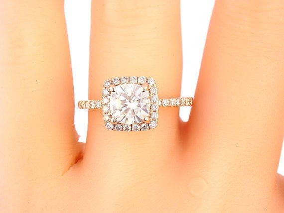 14K Rose Gold Diamond Halo 6.5  MM Cushion Cut Forever Brilliant Moissanite Engagement Ring Wedding Ring Promise Ring Yellow Gold White Gold