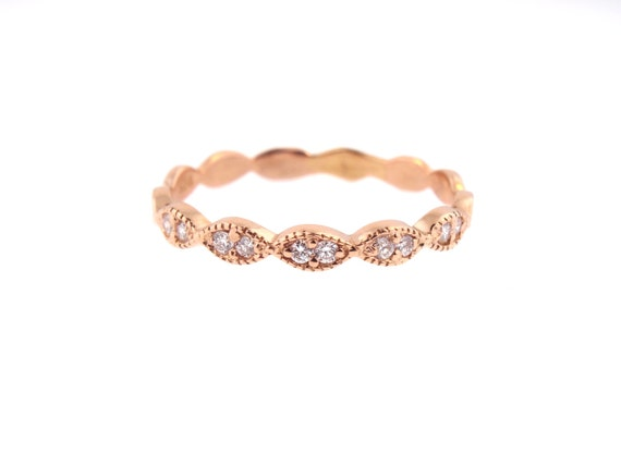 14K Rose Gold Art Deco Antique Style Half Eternity Band Stackable Band Anniversary Band Wedding Band Yellow Gold White Gold Platinum 18K