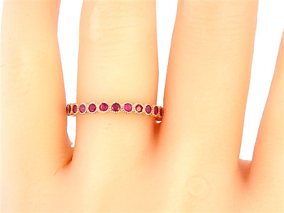 14K Rose Gold Natural Ruby 3/4 Eternity Bezel Set Band Antique Band Art Deco Band Anniversary Band Stackable Band Yellow Gold White Gold 18K