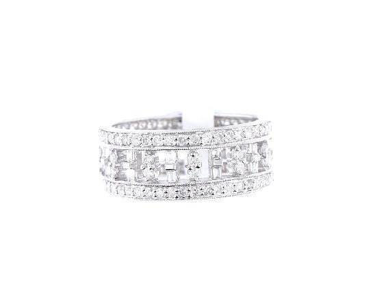 18K White Gold Baguette and Round Brilliant Diamond Band Art Deco Antique Promise Ring Anniversary Band Wedding Band Yellow Gold Rose Gold