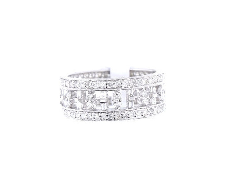 18K White Gold Baguette and Round Brilliant Diamond Band Art image 0
