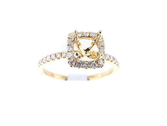18K Yellow Gold Diamond Halo Engagement Ring Classic Halo Solitaire Wedding Ring Anniversary Ring Promise Ring White Gold White Gold