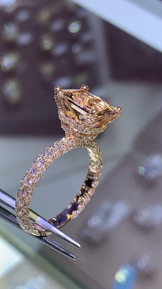 14 Karat Rose Gold Diamond Cushion Cut Morganite Double Under Halo 3D Wedding Ring Engagement Ring Promise Ring Anniversary Ring