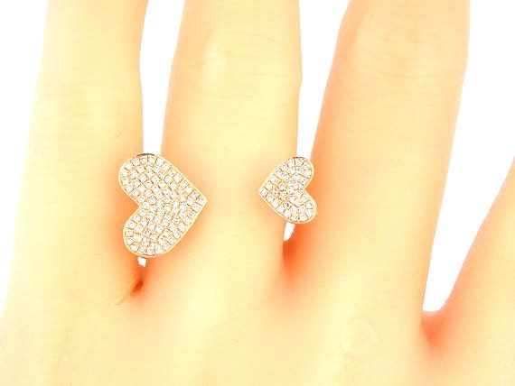 14K Rose Gold Diamond Heart Pave Ring Anniversary Ring Fashion Ring Right Hand Ring Stackable Ring Band Rose Gold White Gold Platinum 18K