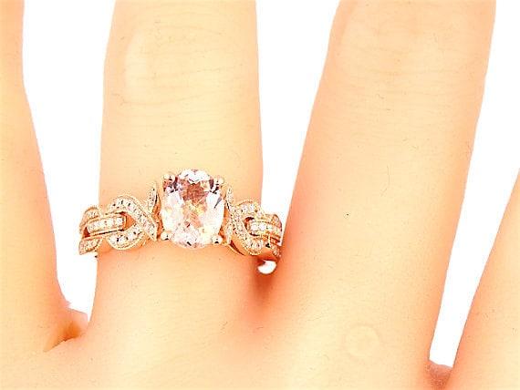 14K Rose Gold Oval Shape Morganite and Diamond Engagement Ring Wedding Ring Infinity Ring Split Shank Criss Cross Ring Promise Ring Art Deco
