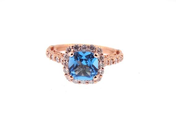 14K Rose Gold Natural Blue Topaz Diamond Halo Ring Engagement Ring Wedding Ring Anniversary Ring Antique Design Art Deco Design White Gold
