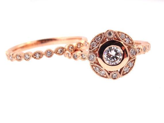 14 Karat Rose Gold Diamond Round Brilliant Diamond Wedding Set Wedding Ring Engagment Ring Promise Anniversary Ring White Gold Yellow Gold
