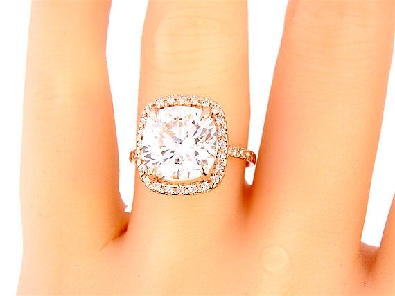 14 Karat Rose Gold Diamond and Forever Brilliant Cushion Cut Engagement Ring Wedding Ring Promise Ring Halo Ring Yellow Gold White Gold