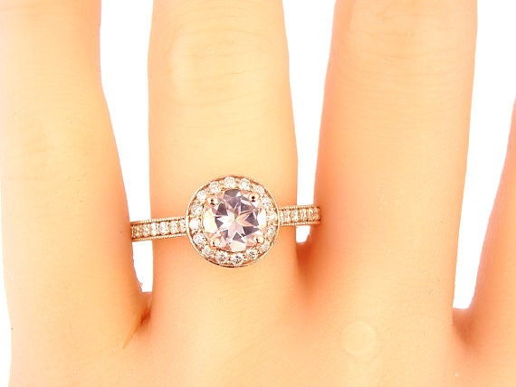 14K Rose Gold Round Brilliant Morganite and Diamond Halo Engagement Ring Wedding Ring Anniversary Ring Art Deco Ring Antique Ring White