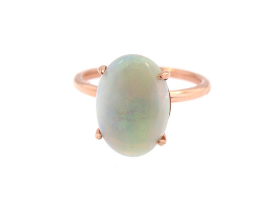 14K Rose Gold Oval Shape Opal Engagement Ring Anniversary Ring Art Deco Ring Solitaire Ring Antique Design Ring Yellow Gold White Gold 18K