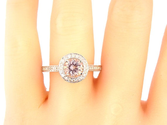 14K White Gold Diamond Round Brilliant Morganite Halo Engagement Ring Wedding Ring Anniversary Art Deco Ring Antique Ring Yellow White Gold