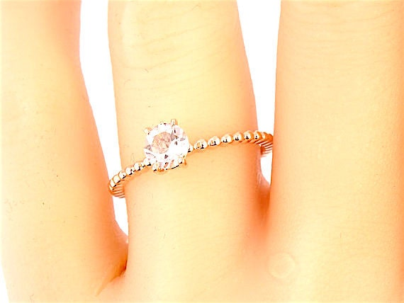 14K Rose Gold Morganite Wedding Ring Promise Ring Engagement Ring Art Deco Ring Solitaire Ring Yellow Gold White Gold Platinum 18K