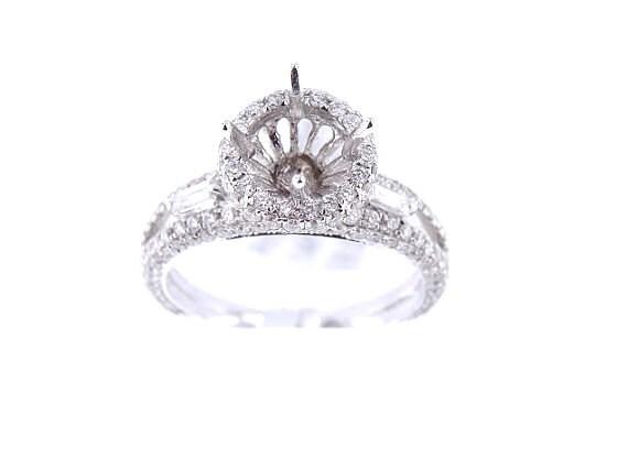 14K White Gold Diamond Antique Halo Engagement Ring 1.16 Carats - SJ3700RH