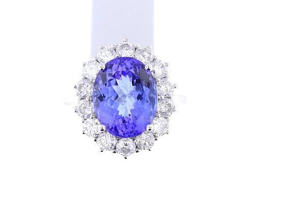 14K White Gold Diamond and Natural Tanzanite Halo Ring 8.01 Carats - SJ9520TAN