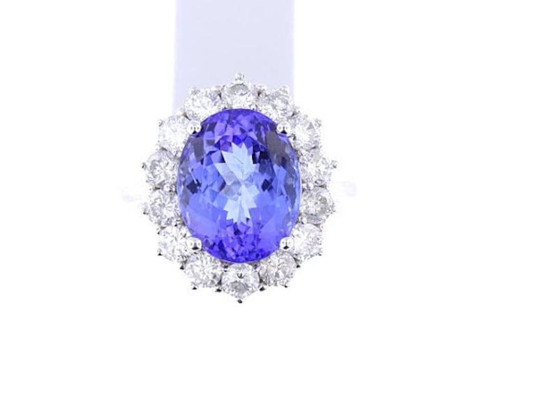 14K White Gold Diamond and Natural Tanzanite Halo Ring 8.01 image 0