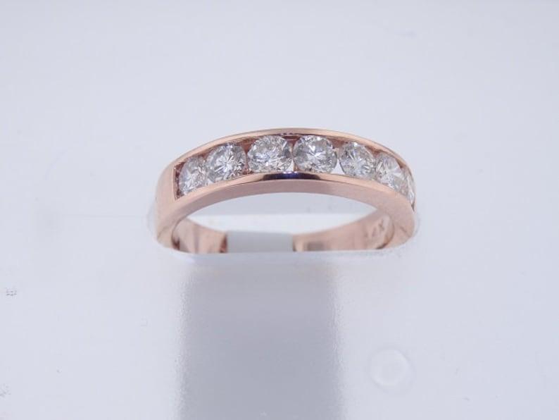 14K Rose Gold Diamond Channel Set Band Wedding Ring Wedding image 1