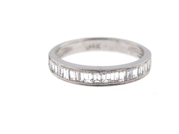14K White Gold Art Deco Diamond Baguette Band Wedding Band Anniversary Band Antique Band Stackable Band Promise Band Rose Gold Yellow Gold