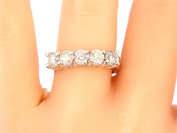 14K White Gold Prong Set Wedding Band Anniversary Band Promise Ring Stackable Band Classic Band Engagement Band Yellow Gold Rose Gold