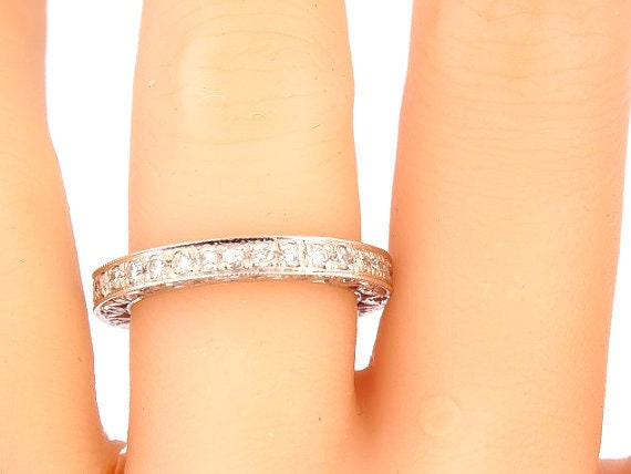 14K White Gold Art Deco Eternity Band Anniversary Band Wedding Band Stackable Band Promise Ring Yellow Gold Rose Gold Platinum 18K - SJ76ART