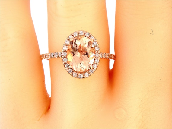 14K Rose Gold Oval Shape Morganite & Diamond Halo Engagement Ring Wedding Ring Anniversary Ring Art Deco Ring Antique Ring Yellow White Gold