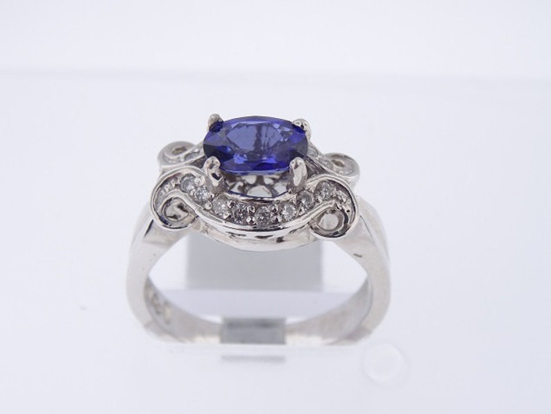 Natural Blue Sapphire and Diamond Set in 14K White Gold Ring image 0
