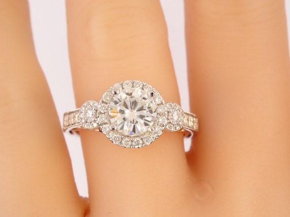 14K White Gold Diamond and 7MM Forever Brilliant Round Moissanite Engagment Ring Wedding Ring Promise Ring Anniversary Ring Alternative Ring
