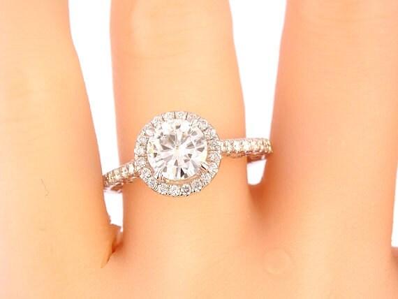 14K White Gold Diamond Halo 7MM Round Brilliant Forever Brillaint Moissanite Engagement Ring Wedding Ring Promise Ring Yellow White Gold 18K