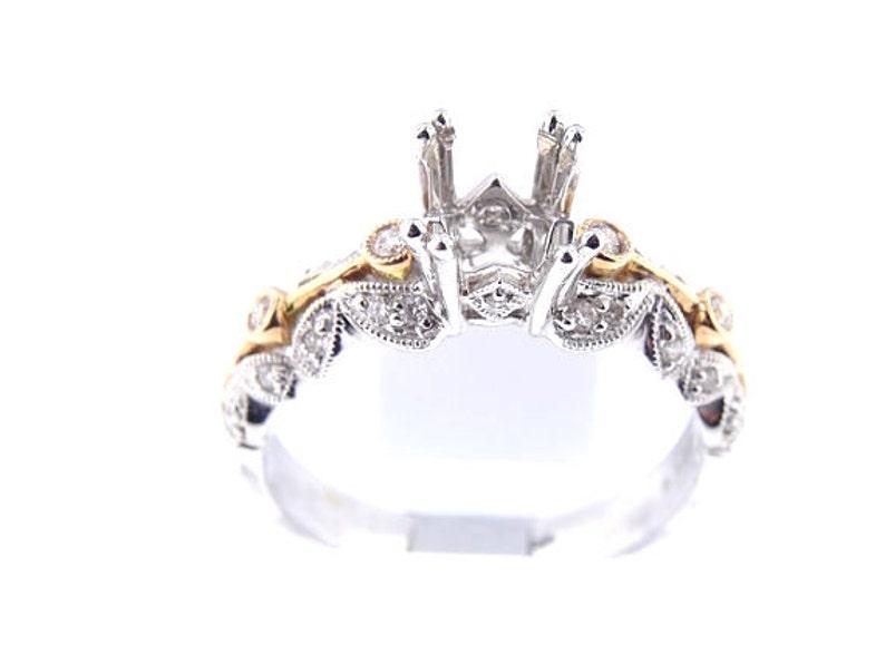 14K White and Rose Gold Diamond Antique Design Engagement Ring image 0