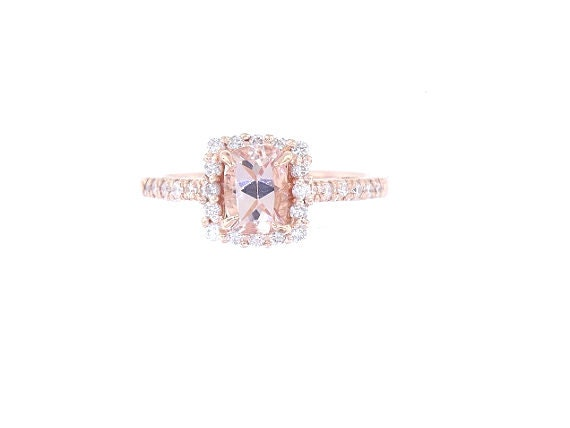 14K Rose Gold Natural Morganite and Diamond Ring - SJ1432RGMORR