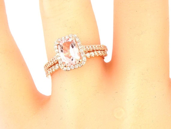 14K Rose Gold Diamond and Natural Radiant Shape Morgniate Halo Engagement Set Wedding Set Promise Ring Antique Ring Yellow Gold White Gold