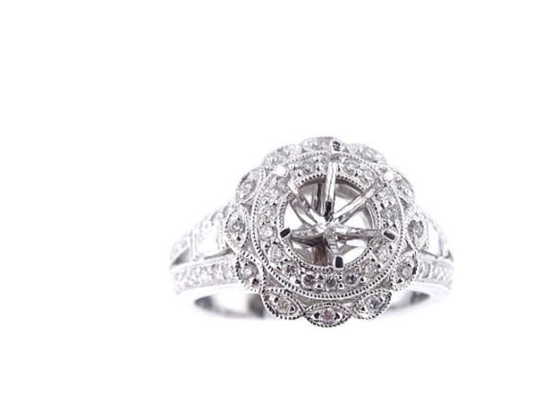 18K White Gold Diamond Halo Antique Engagement Ring Wedding image 0