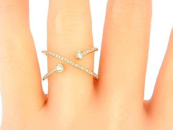 14K Yellow Gold Diamond Band Criss Cross Ring Criss Cross Band Infinity Band Stackable Band Right Hand RIng Fashion Rose Gold White Gold