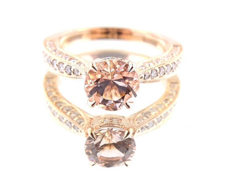 14 K Rose Gold Round Brilliant Diamond Natural Morganite image 0