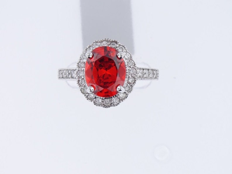 14K White Gold Diamond and Padparadscha Ring Art Deco Antique image 0