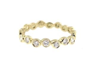 14K Yellow Gold Bezel Set Diamond Band Anniversary Band Wedding Band Stackable Band Promise Ring White Gold Antique Rose Gold Fashion 18K