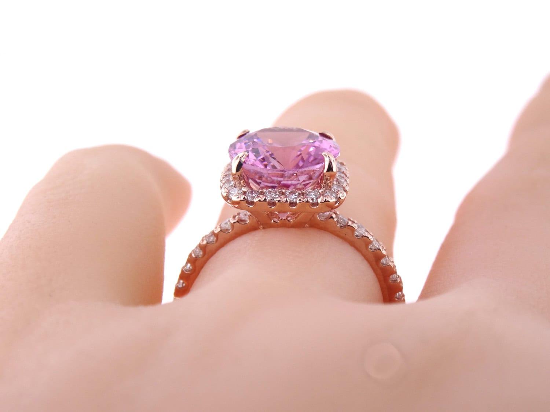 14K Rose Gold Diamond Oval Pink Tourmaline Engagement Ring Wedding ...