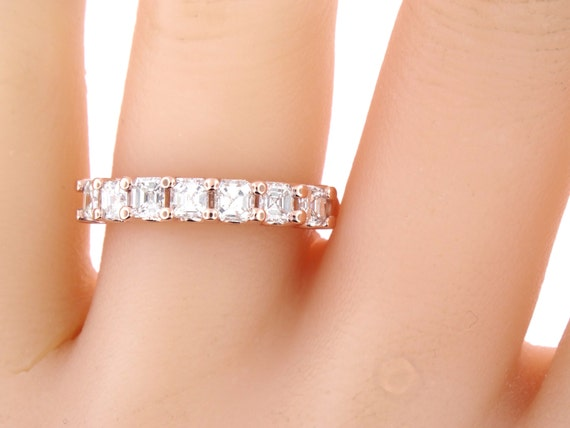 14K Rose Gold Ladies Diamond Asscher Cut Diamond Band Anniversary Band Fashion Band Wedding Band Art Deco Stackable Band White Yellow Gold