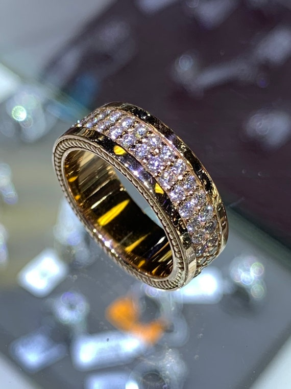14K Rose Gold Mens Diamond Eternity Band Wedding Ring Anniversary Band Engagement Ring Wedding Band Yellow Gold White Gold Platinum 18K