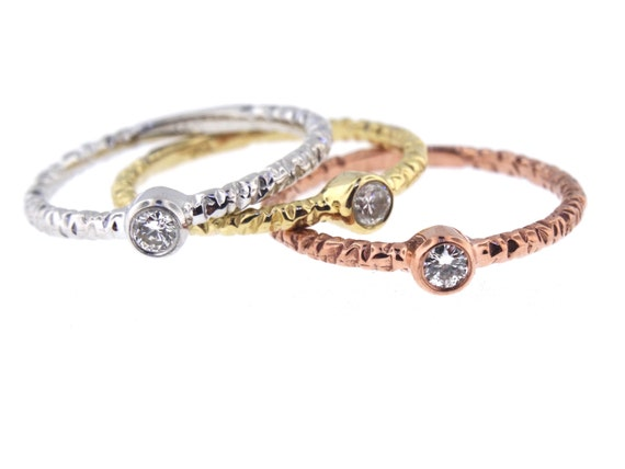 14K Tri-Color Bezel Set Diamond Band Anniversary Band Wedding Band Stackable Band Promise Ring Yellow Gold White Gold Rose Gold Platinum 18K