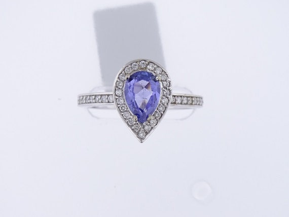 14K White Gold Diamond and Natural Tanzanite Halo Ring Wedding Ring Birthstone Ring Anniversary Ring Pear Shape Promise Ring Solitaire Ring