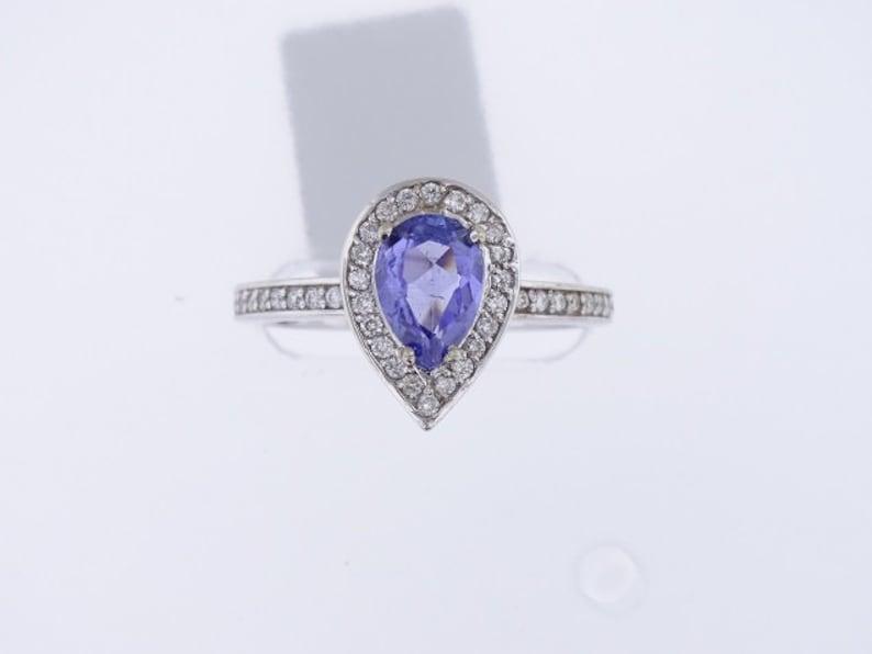 14K White Gold Diamond and Natural Tanzanite Halo Ring Wedding image 0