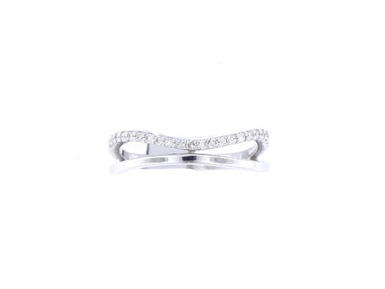 14K White Gold Diamond Knuckle Band Fashion Band Promise Ring image 0