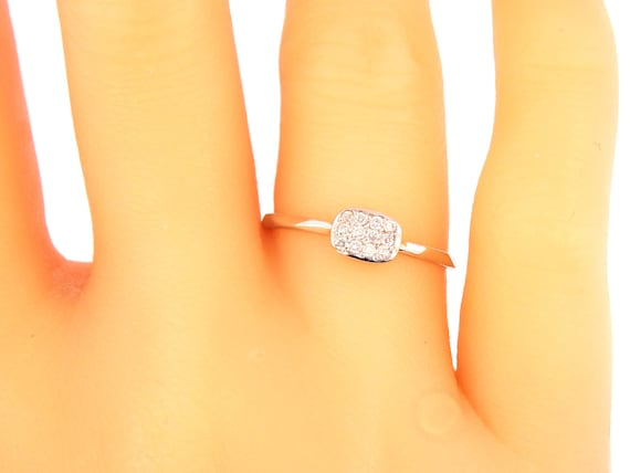 14K White Gold Pave Diamond Wedding Band Anniversary Band Fashion Band Cushion Shape Right Hand Ring Antique Art Deco Yellow Gold Rose Gold