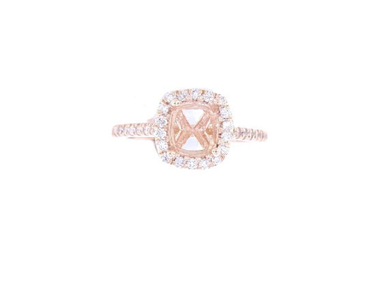 14K Rose Gold Diamond Halo Engagement Ring Wedding Ring Art image 0